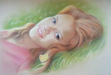 Настоящий портрет пастелью для любимой девушки в Сургуте, просто и со вкусом!