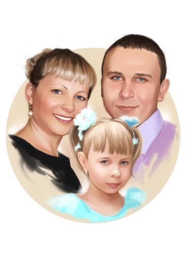 Семейный портрет по фото на холсте в Сургуте — правильный подарок!