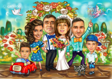 Шарж по фото на годовщину свадьбы на заказ в Сургуте…